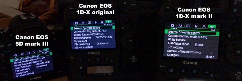 Canon EOS 5D mk III vs 1D-X original vs 1D-X mark II screen comparison in menus.