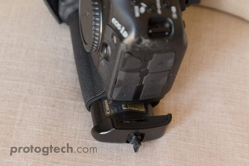 The first step to replacing the backup / clock battery in the Canon 1D-X, is to remove the main battery.
